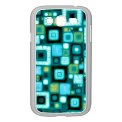 Teal Squares Samsung Galaxy Grand DUOS I9082 Case (White)