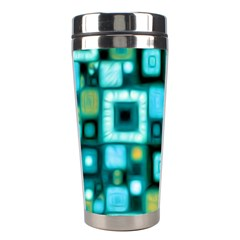 Teal Squares Stainless Steel Travel Tumblers