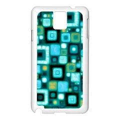 Teal Squares Samsung Galaxy Note 3 N9005 Case (white)