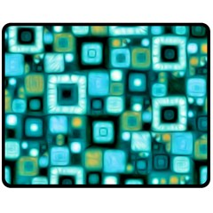Teal Squares Double Sided Fleece Blanket (medium)