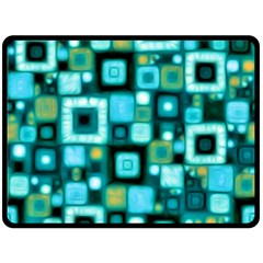 Teal Squares Double Sided Fleece Blanket (Large)