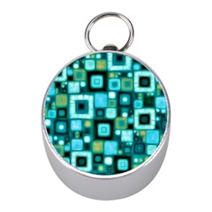 Teal Squares Mini Silver Compasses