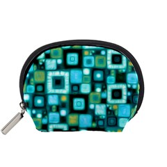Teal Squares Accessory Pouches (Small)