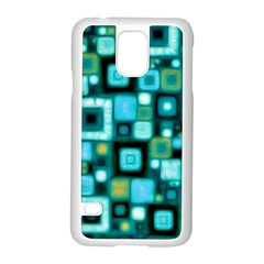 Teal Squares Samsung Galaxy S5 Case (White)