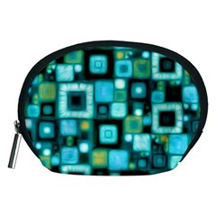 Teal Squares Accessory Pouches (Medium)