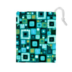 Teal Squares Drawstring Pouches (Large)