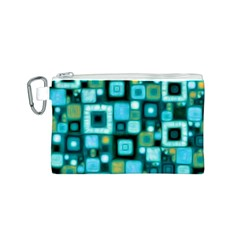 Teal Squares Canvas Cosmetic Bag (S)