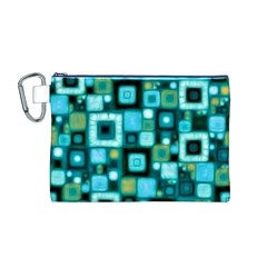 Teal Squares Canvas Cosmetic Bag (M)
