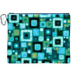Teal Squares Canvas Cosmetic Bag (XXXL)