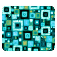 Teal Squares Double Sided Flano Blanket (Small)