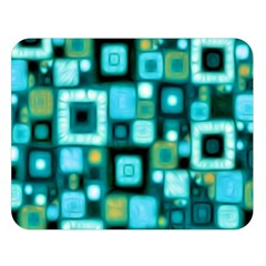 Teal Squares Double Sided Flano Blanket (Large)