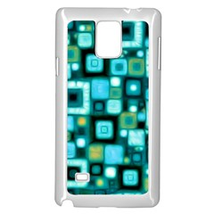 Teal Squares Samsung Galaxy Note 4 Case (White)