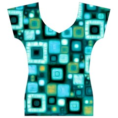 Teal Squares Women s V-Neck Cap Sleeve Top