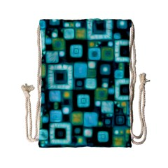 Teal Squares Drawstring Bag (Small)