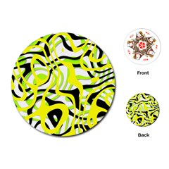 Ribbon Chaos Yellow Playing Cards (Round)