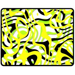Ribbon Chaos Yellow Fleece Blanket (Medium)