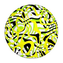 Ribbon Chaos Yellow Ornament (Round Filigree)