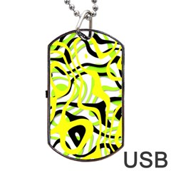 Ribbon Chaos Yellow Dog Tag USB Flash (One Side)