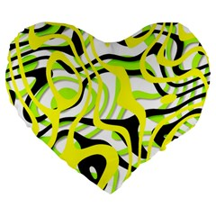 Ribbon Chaos Yellow Large 19  Premium Heart Shape Cushions