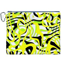Ribbon Chaos Yellow Canvas Cosmetic Bag (XXXL)