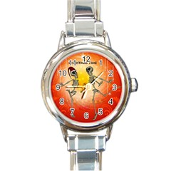 Dancing For Christmas, Funny Skeletons Round Italian Charm Watches