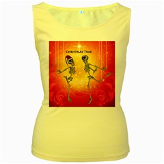 Dancing For Christmas, Funny Skeletons Women s Yellow Tank Tops
