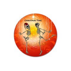 Dancing For Christmas, Funny Skeletons Magnet 3  (Round)