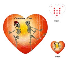 Dancing For Christmas, Funny Skeletons Playing Cards (Heart)