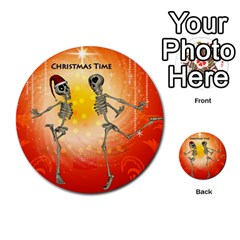 Dancing For Christmas, Funny Skeletons Multi-purpose Cards (Round)