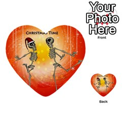 Dancing For Christmas, Funny Skeletons Multi Purpose Cards (heart)