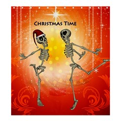 Dancing For Christmas, Funny Skeletons Shower Curtain 66  x 72  (Large)