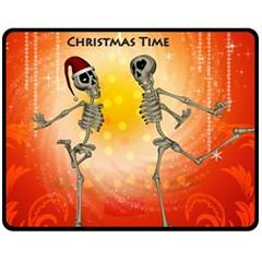 Dancing For Christmas, Funny Skeletons Fleece Blanket (medium)