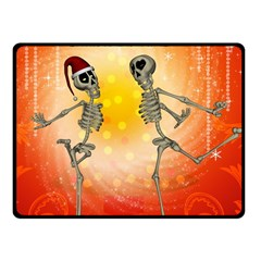 Dancing For Christmas, Funny Skeletons Fleece Blanket (Small)
