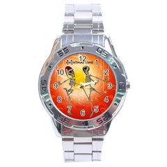 Dancing For Christmas, Funny Skeletons Stainless Steel Men s Watch