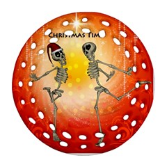 Dancing For Christmas, Funny Skeletons Ornament (Round Filigree)