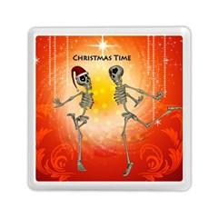 Dancing For Christmas, Funny Skeletons Memory Card Reader (Square)