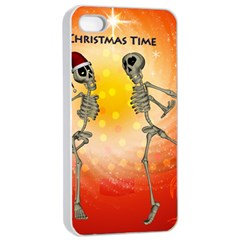 Dancing For Christmas, Funny Skeletons Apple Iphone 4/4s Seamless Case (white)