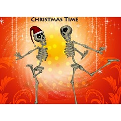 Dancing For Christmas, Funny Skeletons Birthday Cake 3D Greeting Card (7x5)
