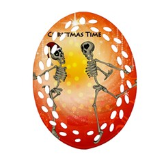 Dancing For Christmas, Funny Skeletons Oval Filigree Ornament (2 Side)