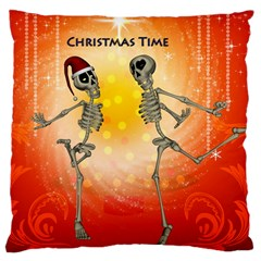 Dancing For Christmas, Funny Skeletons Large Cushion Cases (Two Sides)