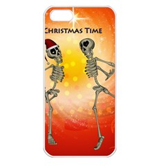 Dancing For Christmas, Funny Skeletons Apple iPhone 5 Seamless Case (White)