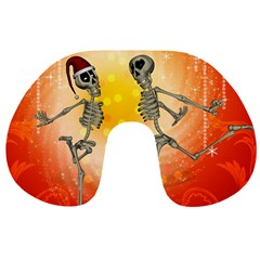 Dancing For Christmas, Funny Skeletons Travel Neck Pillows