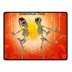 Dancing For Christmas, Funny Skeletons Double Sided Fleece Blanket (Small)