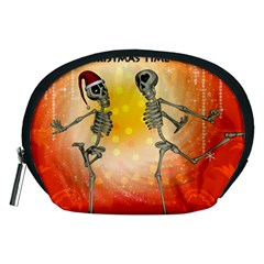 Dancing For Christmas, Funny Skeletons Accessory Pouches (medium)