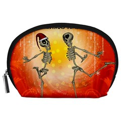Dancing For Christmas, Funny Skeletons Accessory Pouches (Large)