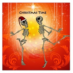 Dancing For Christmas, Funny Skeletons Large Satin Scarf (Square)