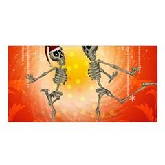 Dancing For Christmas, Funny Skeletons Satin Shawl