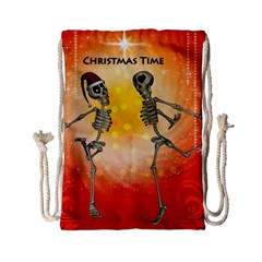 Dancing For Christmas, Funny Skeletons Drawstring Bag (small)