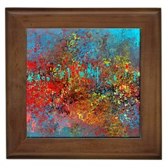 Abstract In Red, Turquoise, And Yellow Framed Tiles