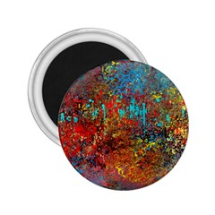 Abstract In Red, Turquoise, And Yellow 2 25  Magnets